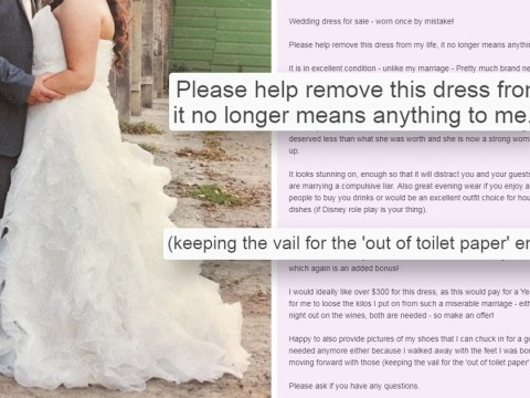 Woman auctions dress in brilliant ad after ditching 'compulsive liar' husband
