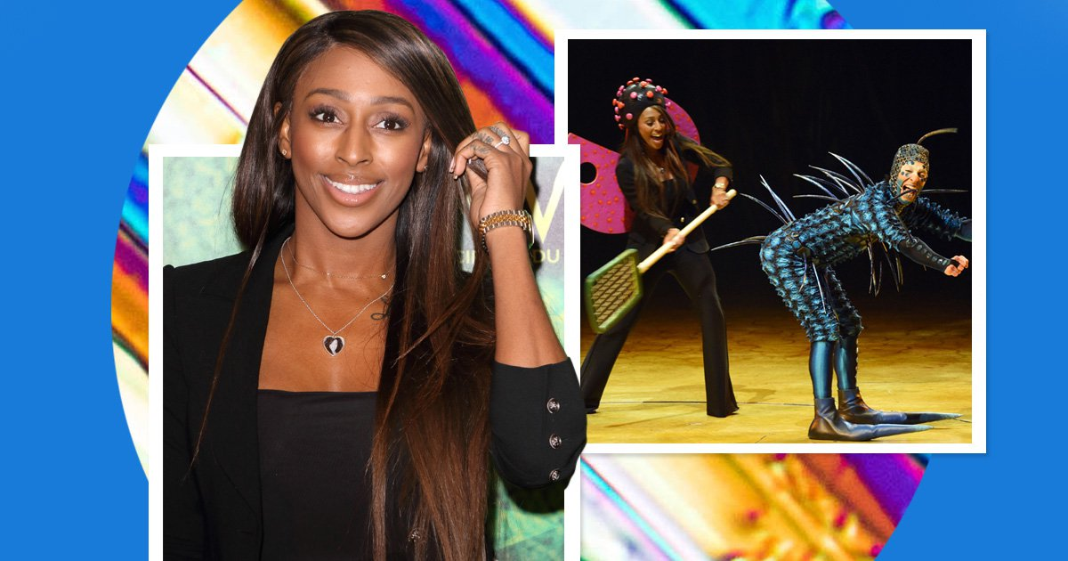 Alexandra Burke doesn't hold back as she gets into Cirque du Soleil spirit and spanks actor