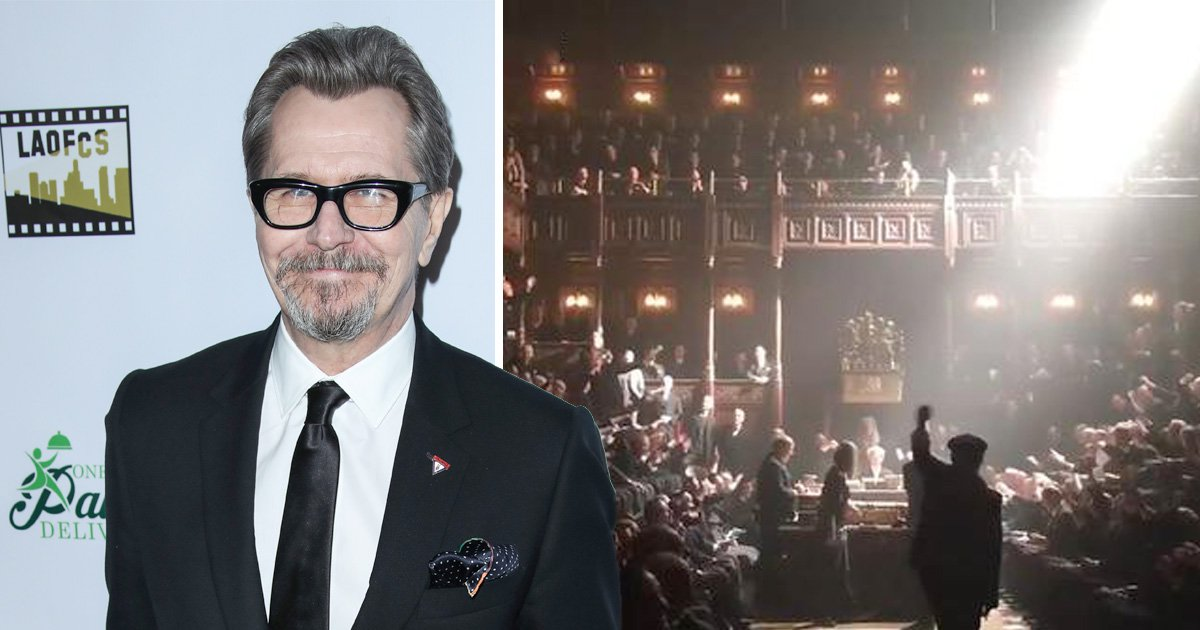 Darkest Hour director leads incredible Hey Jude chant with Gary Oldman and 450 actors