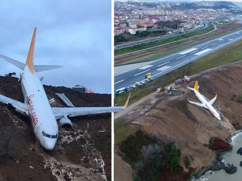 Terrifying pictures show plane hanging over cliff after skidding off runway