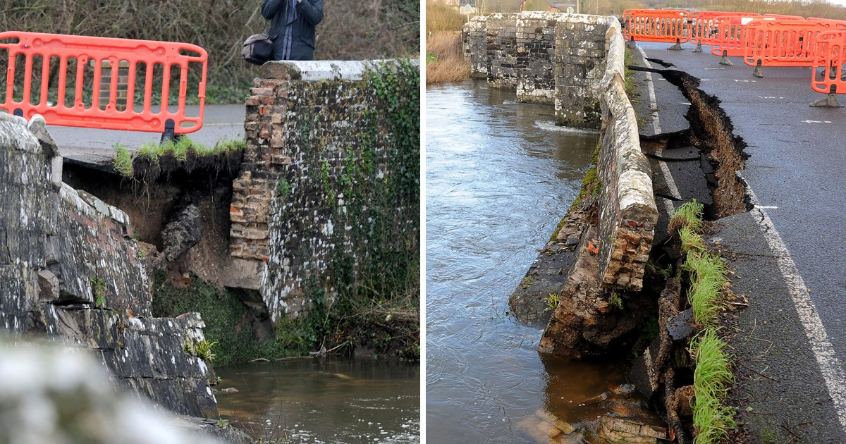 Bridge from Thomas Hardy's Tess of the D'Ubervilles collapses into River Frome