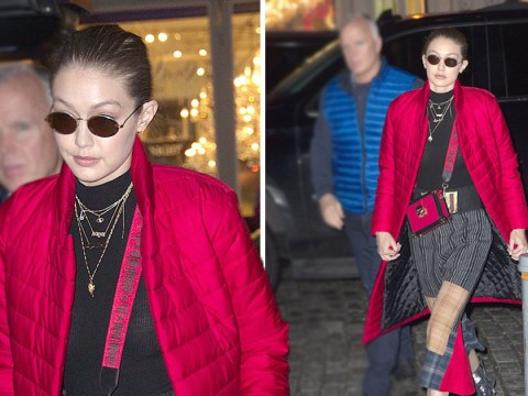 Gigi Hadid proves she's the only person who can make a red puffer coat and patchwork trousers look stylish