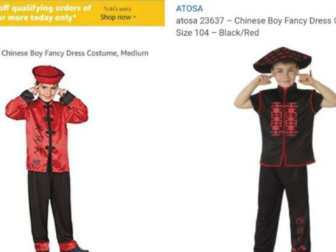 Racist Chinese costume pulled from Amazon because boy is pulling 'slant-eyed' gesture