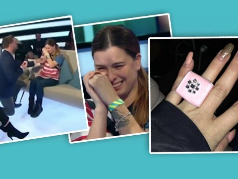 Dapper Laughs' fiancée Shelley Rae shows off her paper ring after shock on-air proposal
