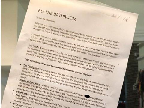 Husband shames wife's bathroom habits in over the top letter