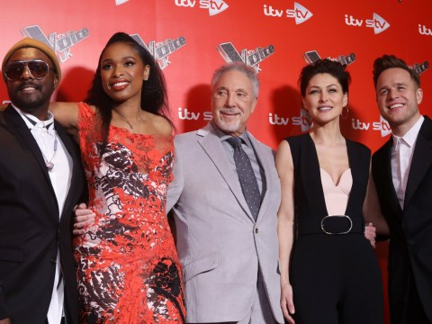 Glamorous Emma Willis joins The Voice UK coaches Jennifer Hudson, Olly Murs, Tom Jones and Will.i.am at launch