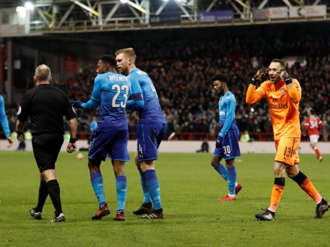 Jon Moss told Per Mertesacker he 'couldn't see' double touch and had to award penalty goal in Arsenal loss
