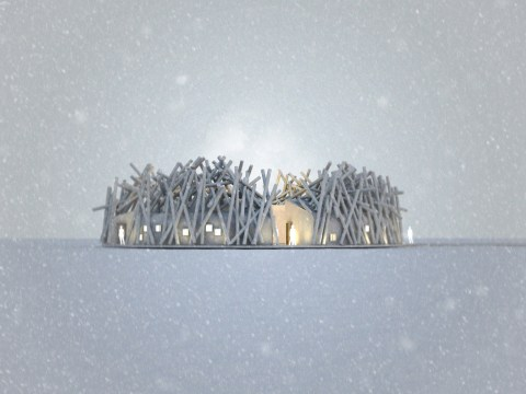 A floating arctic hotel and spa that looks like a pile of sticks is coming to Sweden