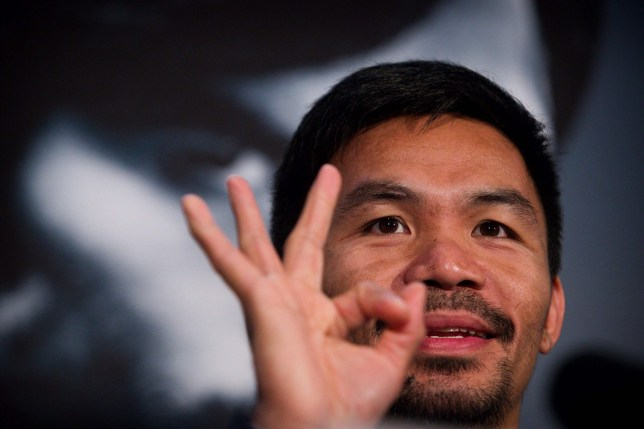 Manny Pacquiao gives the OK sign