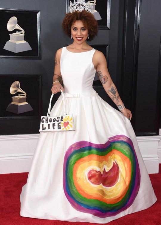Joy Villa pro-life dress at Grammys