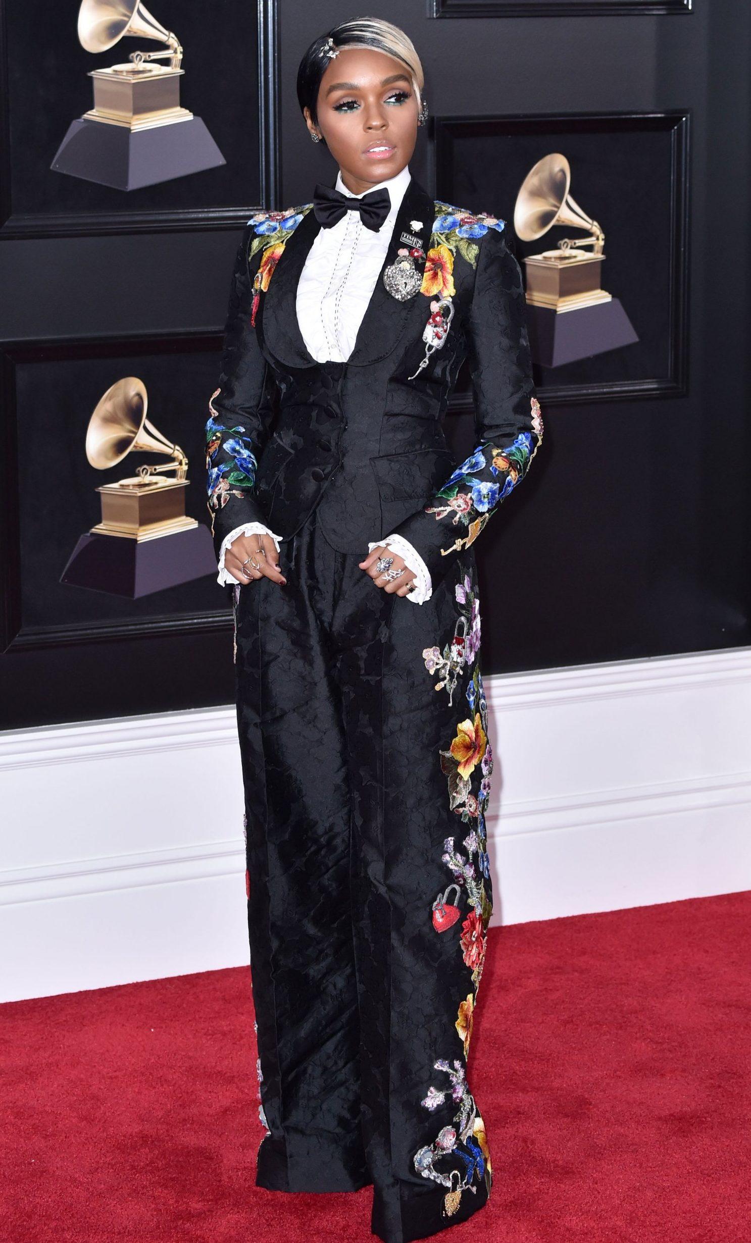 Janelle Monae Grammys red carpet