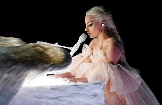 Lady Gaga performing at Grammys