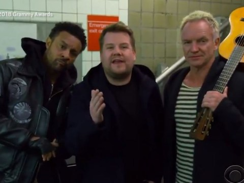 James Corden, Sting and Shaggy turn Carpool Karaoke into Subway Karaoke at the Grammys 2018