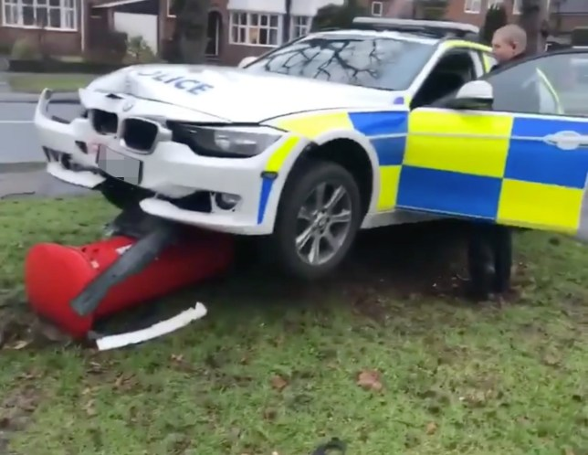 High Speed Pursuit Ends With Police Car Flattening Postbox Metro News