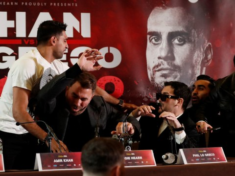 Amir Khan throws water in the face of Phil Lo Greco in retaliation for comments about his wife