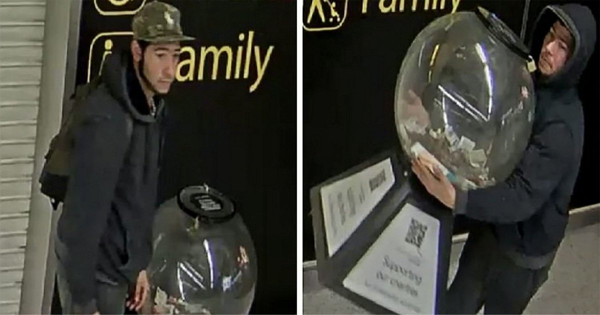 Someone stole the Gatwick Airport charity globe for foreign currency