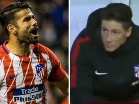 Fernando Torres looks miserable in dugout as Diego Costa scores in Atletico Madrid return