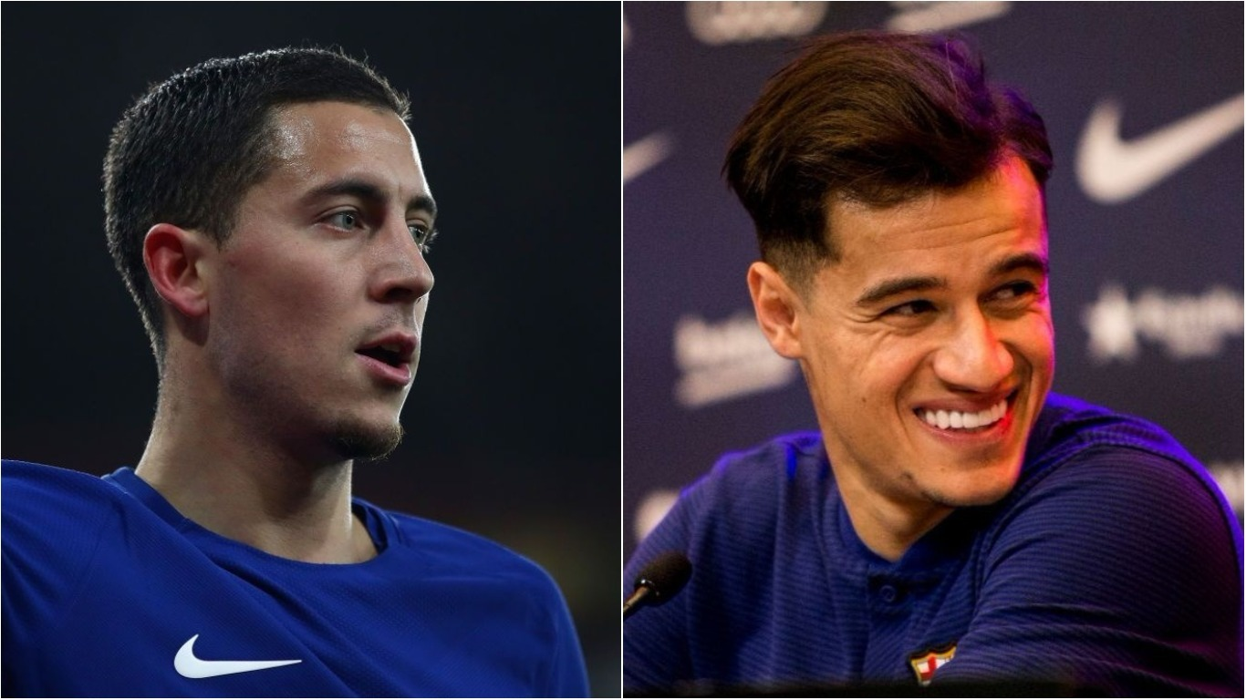 Chelsea superstar Eden Hazard reacts to Philippe Coutinho's £142m move to Barcelona