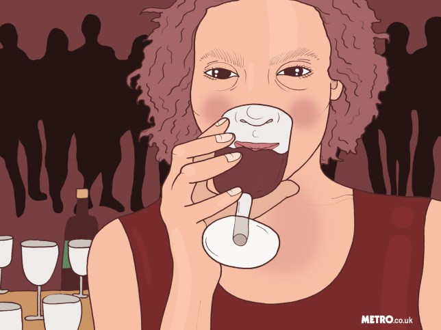 An illustration of a woman drinking red wine