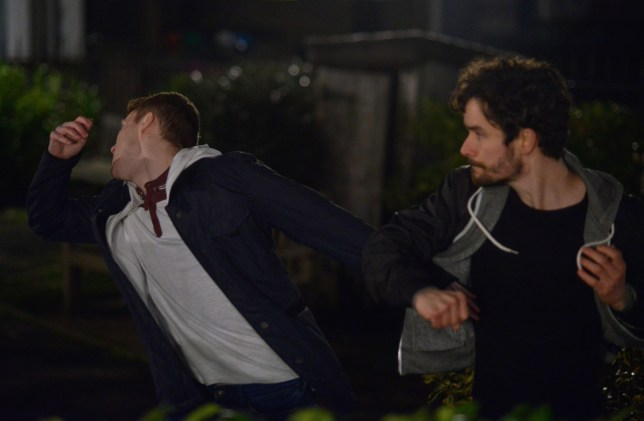Jay is punched in EastEnders