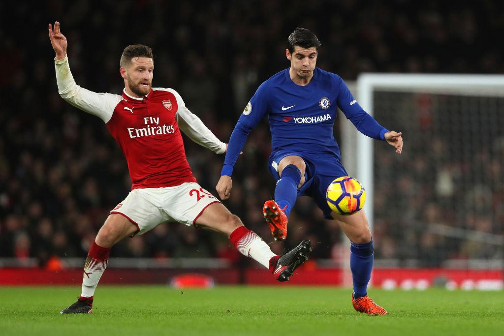 Alvaro Morata protects the ball