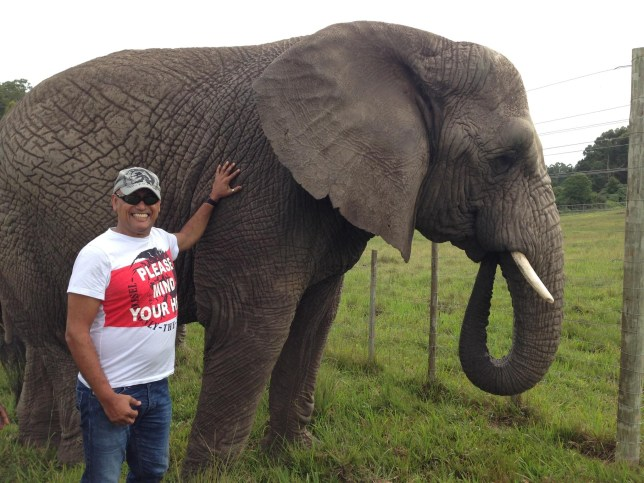 Picture of Steve Roodt with elephants