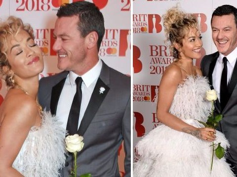 Rita Ora and Luke Evans pose as unlikely besties on Brit Awards 2018 red carpet