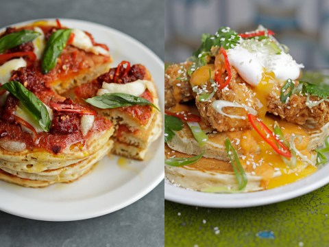 This café is selling pizza and fried chicken pancakes for Pancake Day