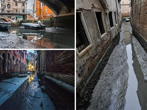 Venice's canals have run dry following weeks without rain