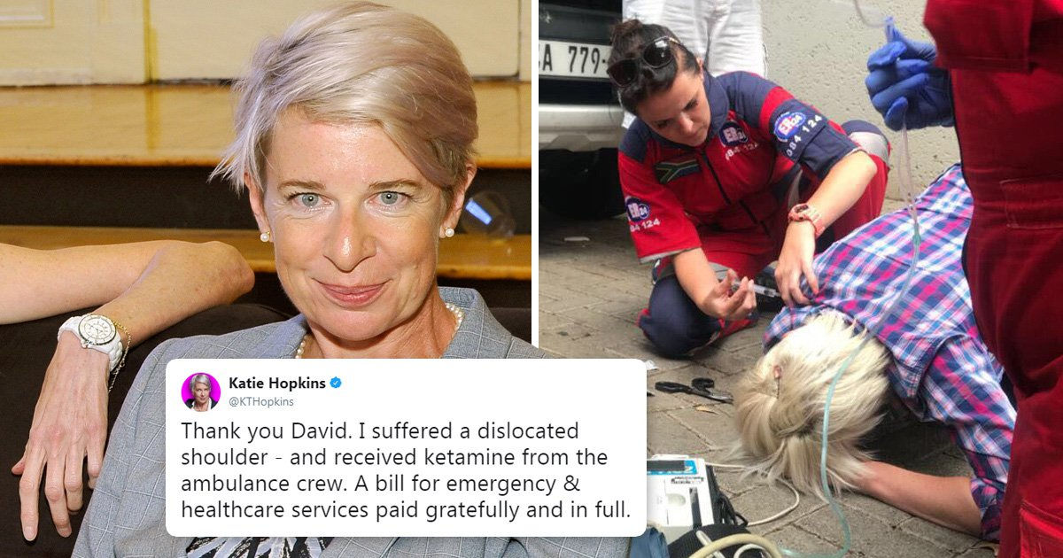 Katie Hopkins says she paid in full for her medical treatment after taking ket