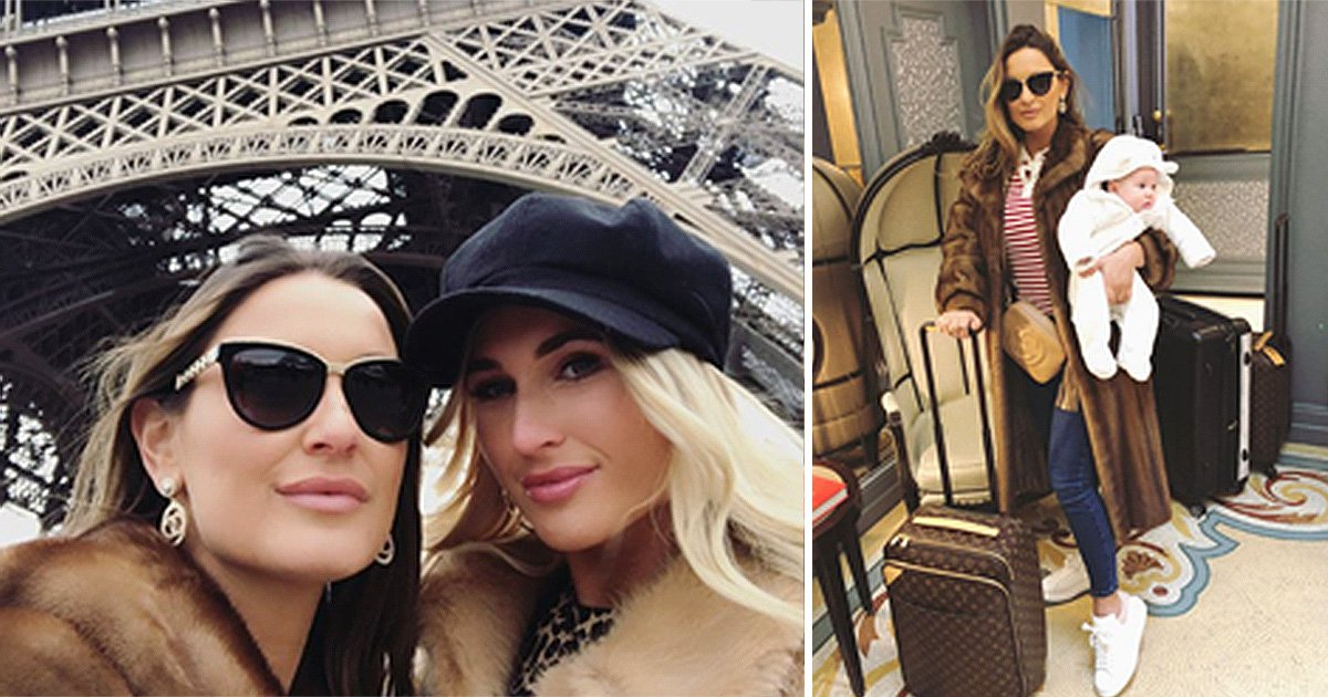 Sam Faiers and sister Billie go glam in Paris with baby Rosie for The Mummy Diaries filming