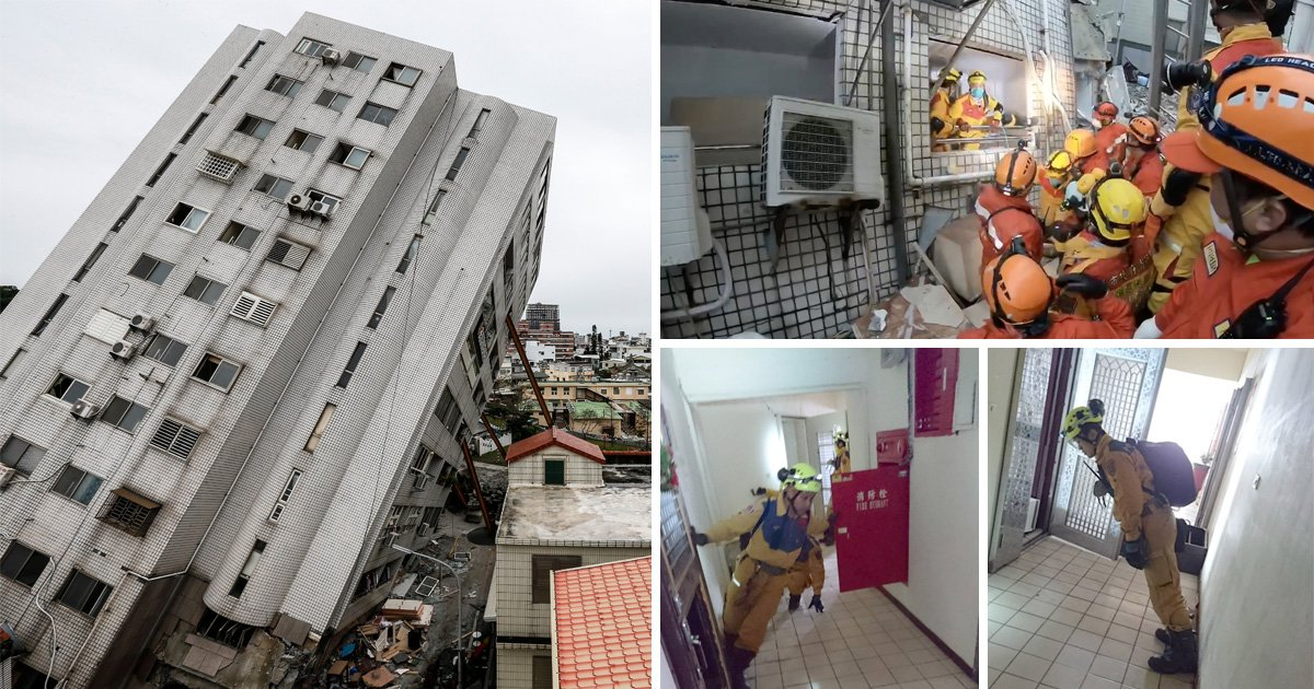 Inside leaning tower of Taiwan where people are still missing