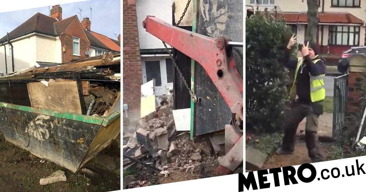 Workers empty skip onto customer's garden 'for refusing to pay'