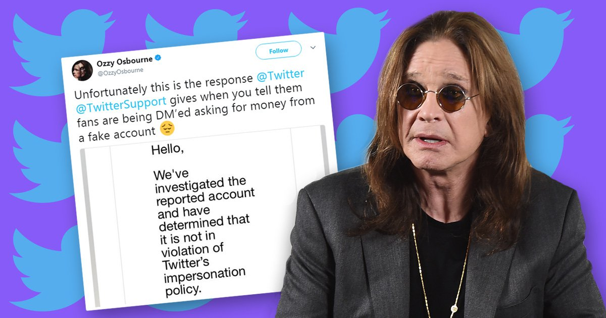 Ozzy Osbourne calls out Twitter for rejecting complaint that 'impostor is stealing money from fans'