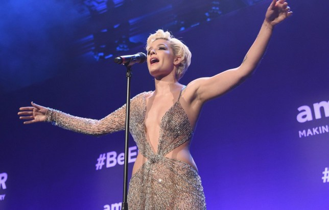 Halsey performing at amfar gala