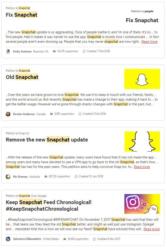Snapchat fans desperate to 'un update', uninstall and reverse