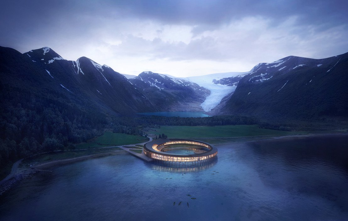 Take a look at the snazzy spaceship style lodge opening beneath a glacier in the Arctic Circle