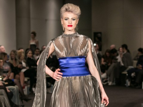 The X Factor's Chloe Jasmine owns the London Fashion Week runway in stunning sheer dress