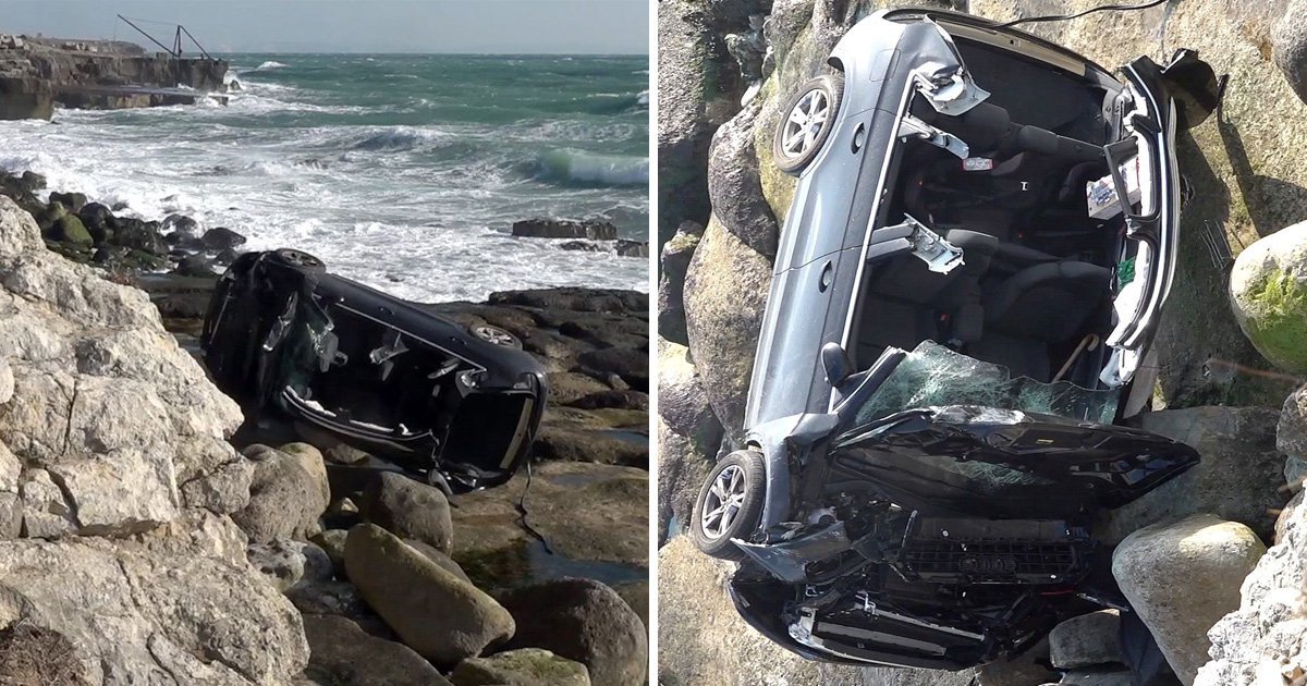 Driver somehow escapes serious injury after car tumbles 25ft off clifftop