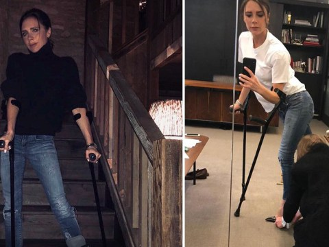 Victoria Beckham doesn't let fractured foot stop fashion as she has shoe fitting in medical boot