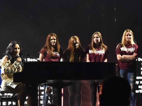 Demi Lovato invites Florida school shooting survivors on stage for emotional performance