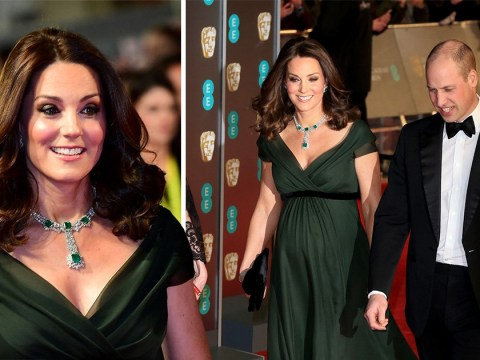 Kate stands out in dark green but still makes nod to Time's Up campaign