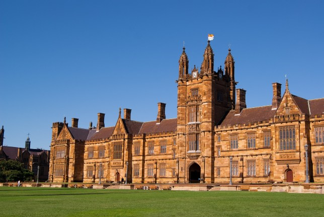 The main quadrangle building of the University of Sydney, seen from the front lawns. Established in 1850, the university is the oldest in Australia and Oceania.
