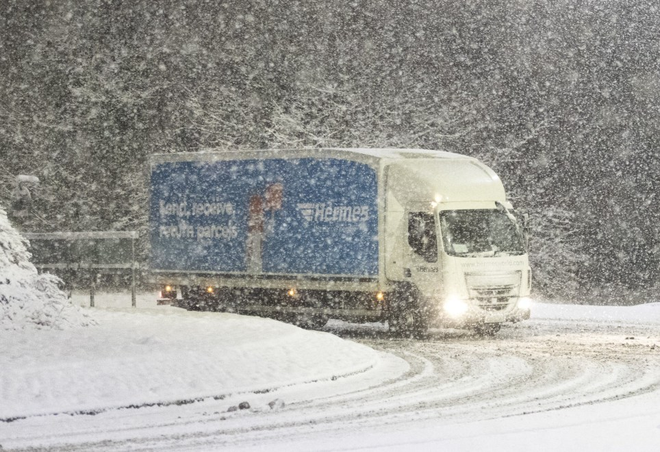 BGUK_1155299 - A19 Teesside, England, UNITED KINGDOM - Heavy snow hit the North East of England during the early hours of this morning as 'The Beast from The East hits the country. Up to 5cm of snow fell on the A19 motorway this morning making the roads treacherous. The region is still currently getting hit with heavy snow! Pictured: UK Snow, UK Weather, Storm Emma, Beast from the East BACKGRID UK 27 FEBRUARY 2018 BYLINE MUST READ: CROSBY / BACKGRID UK: +44 208 344 2007 / uksales@backgrid.com USA: +1 310 798 9111 / usasales@backgrid.com *UK Clients - Pictures Containing Children Please Pixelate Face Prior To Publication*