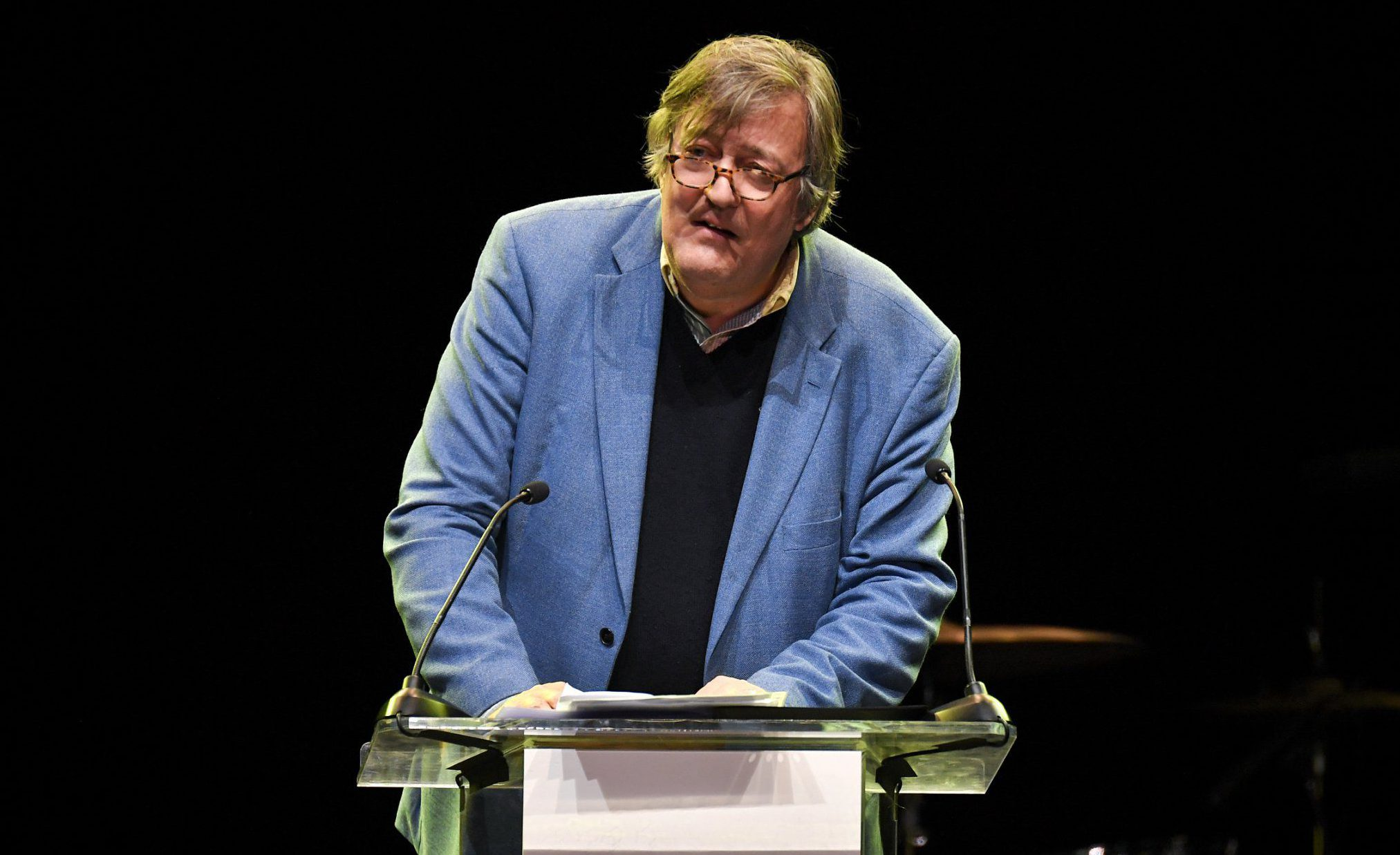 Stephen Fry returns to work at Letters Live after revealing prostate cancer battle