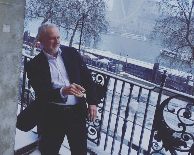 Picture: Instagram/ jeremy_corbynmp Jeremy Corbyn is having a snowball fight from his Westminster office