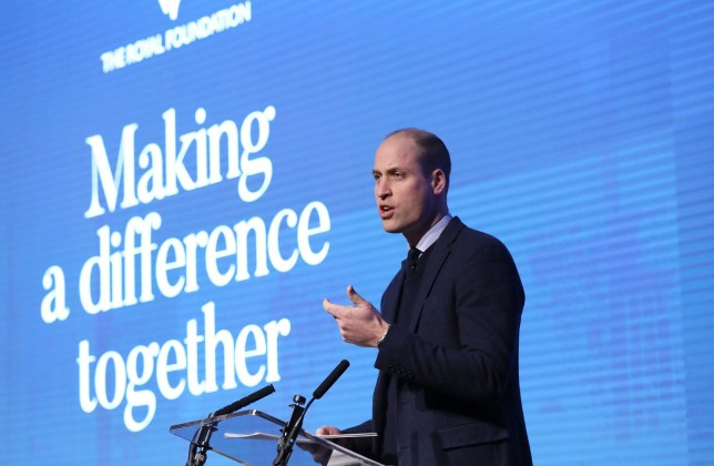 LONDON, ENGLAND - FEBRUARY 28: Prince William, Duke of Cambridge gives a speech as he attends the first annual Royal Foundation Forum held at Aviva on February 28, 2018 in London, England. Under the theme 'Making a Difference Together', the event will showcase the programmes run or initiated by The Royal Foundation. (Photo by Chris Jackson - WPA Pool/Getty Images)