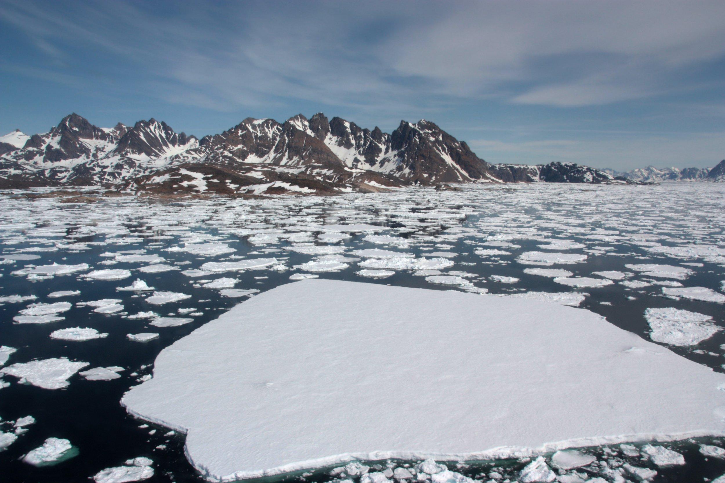 Sea ice breaking up in spring. Near Kulusuk, Greenland.
