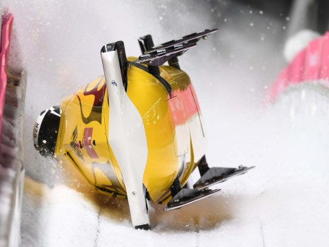 German bobsled team crashes over the line to take first place at Winter Olympics