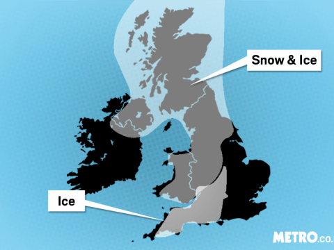 UK's big freeze continues as weather warnings are issued for snow, sleet and ice